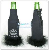 Neopreno cerveja/bebida garrafa cooler suporte isolador com pena -021