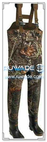 Men camo neoprene chest fishing wader -003