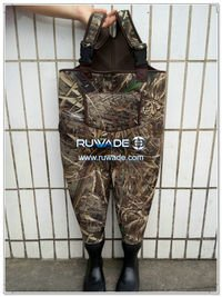 Camo hunting neoprene chest fishing wader -020