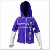 UV50+ children long sleeve rash guard hoodies with front zipper -076