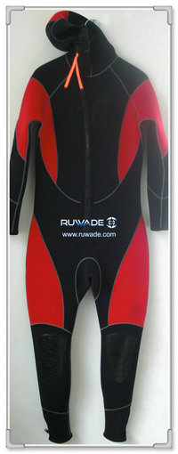 Hooded front zip neoprene full wetsuits -001