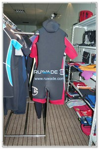 Hooded front zipper shorty surfing wetsuit -004