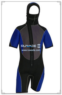 Hooded shorty surfing wetsuit with front zipper -005-1