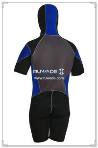 Hooded shorty surfing wetsuit with front zipper -005-2