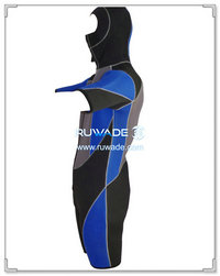 Hooded shorty surfing wetsuit with front zipper -005
